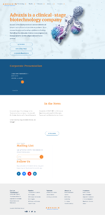 Advaxis, Inc. Website Screenshot