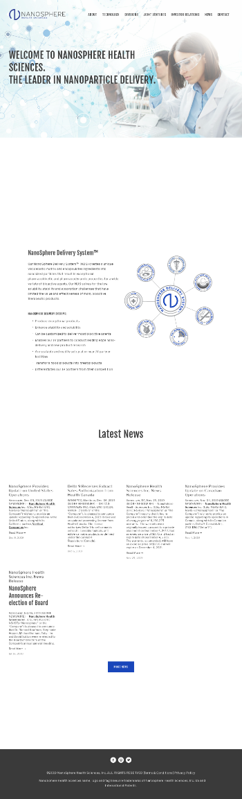 NanoSphere Health Sciences Inc. Website Screenshot