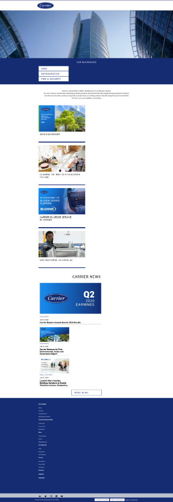Carrier Global Corporation Website Screenshot