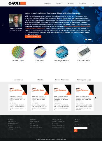 Aehr Test Systems Website Screenshot