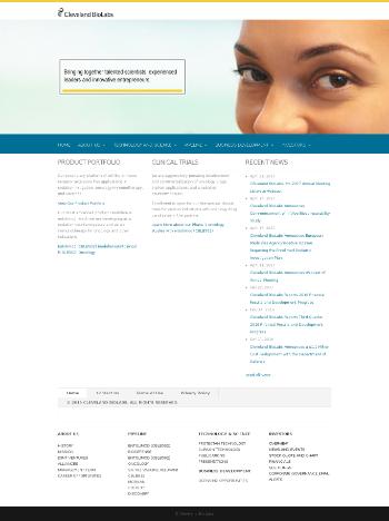 Cleveland BioLabs, Inc. Website Screenshot