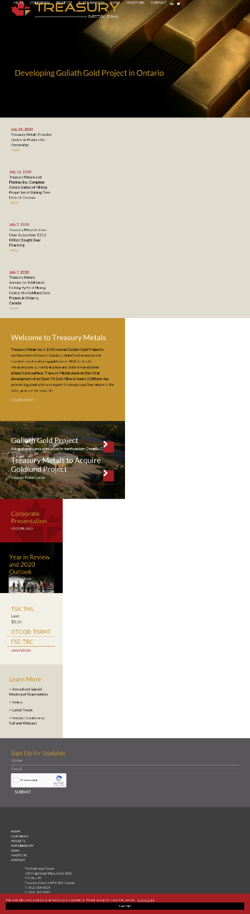 Treasury Metals Inc. Website Screenshot