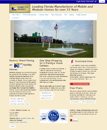 Nobility Homes, Inc. Website Screenshot