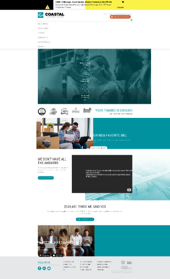 Coastal Financial Corporation Website Screenshot