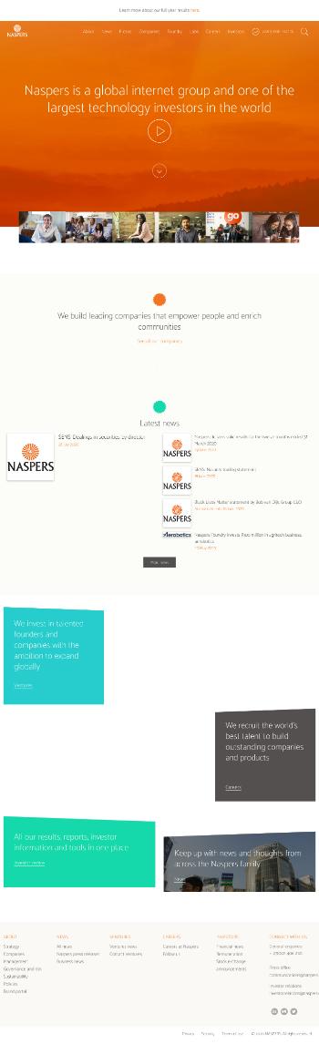 Naspers Limited Website Screenshot