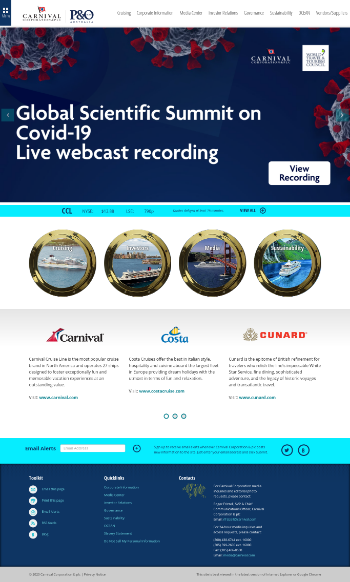 Carnival Corporation & Plc Website Screenshot