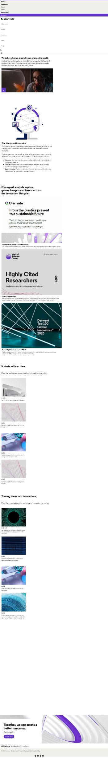 Clarivate Plc Website Screenshot