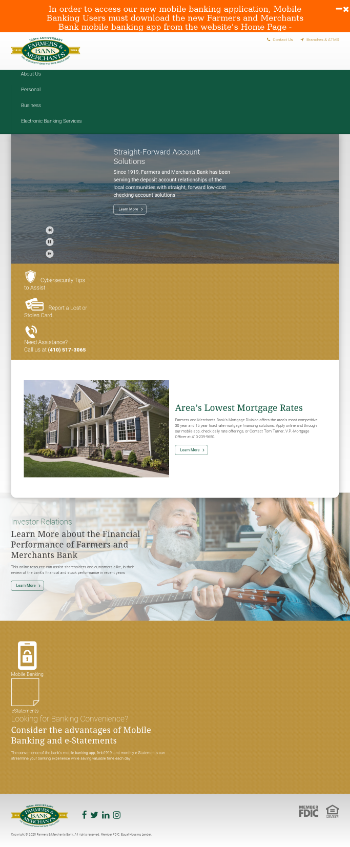 Farmers and Merchants Bancshares, Inc. Website Screenshot