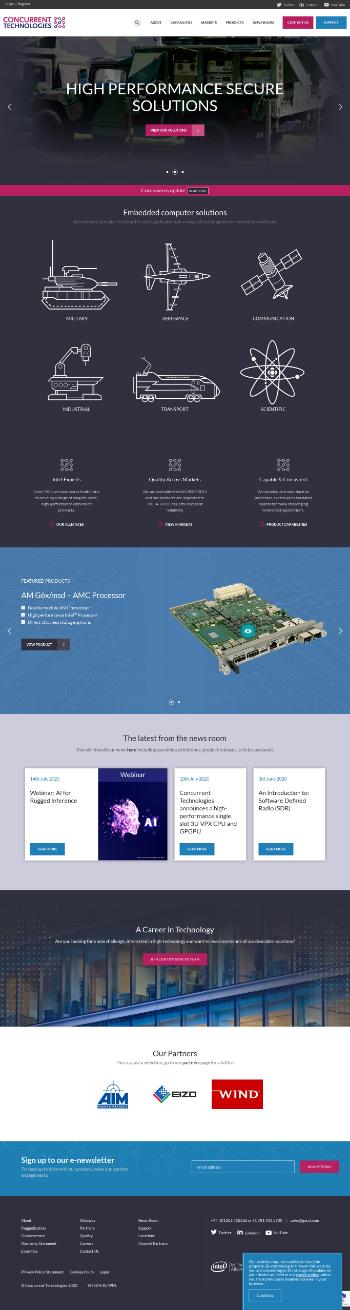 Concurrent Technologies Plc Website Screenshot