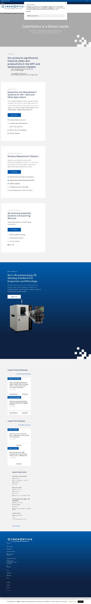 CyberOptics Corporation Website Screenshot
