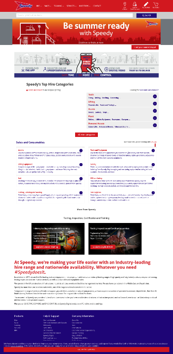 Speedy Hire Plc Website Screenshot