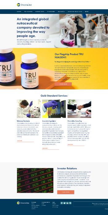 ChromaDex Corporation Website Screenshot