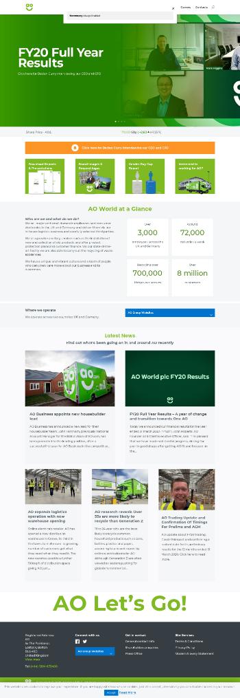 AO World plc Website Screenshot