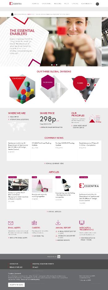 Essentra plc Website Screenshot