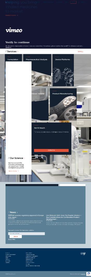 Vectura Group plc Website Screenshot