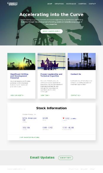 Camber Energy, Inc. Website Screenshot