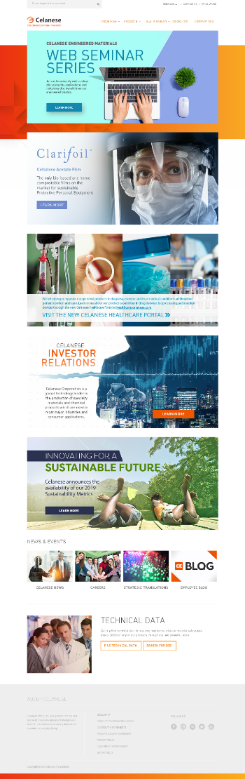 Celanese Corporation Website Screenshot