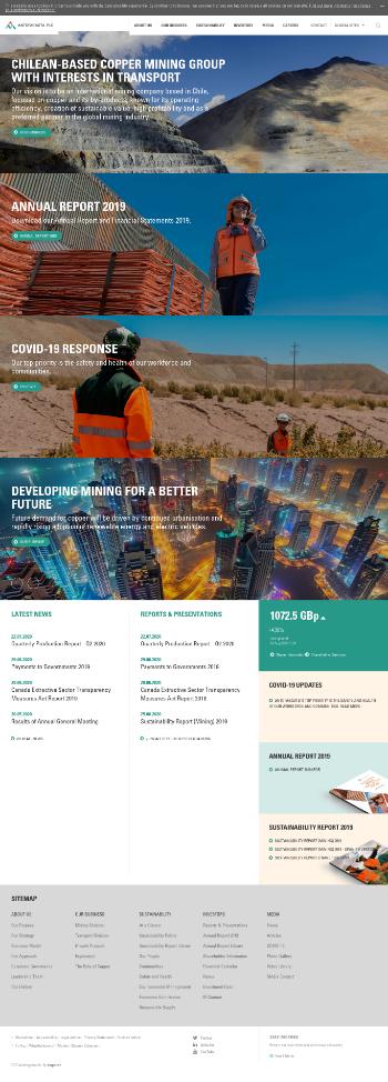 Antofagasta plc Website Screenshot