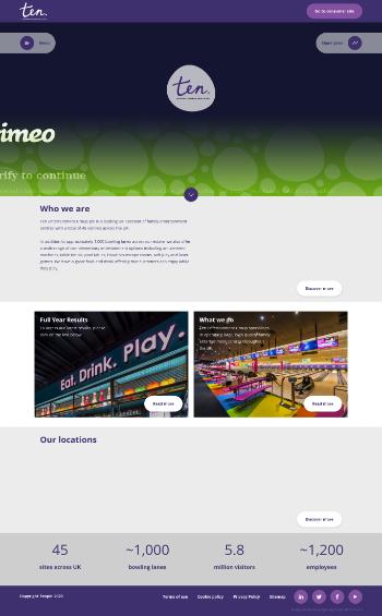 Ten Entertainment Group plc Website Screenshot