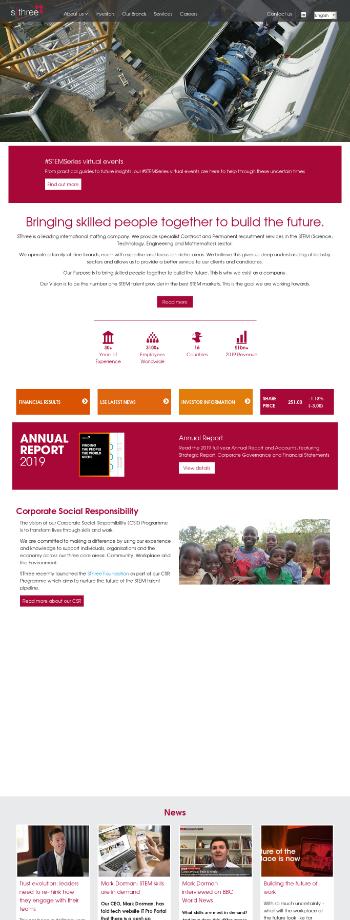 SThree plc Website Screenshot