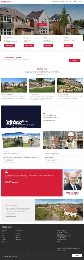 Redrow plc Website Screenshot