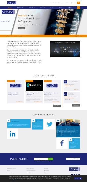 Oxford Instruments plc Website Screenshot