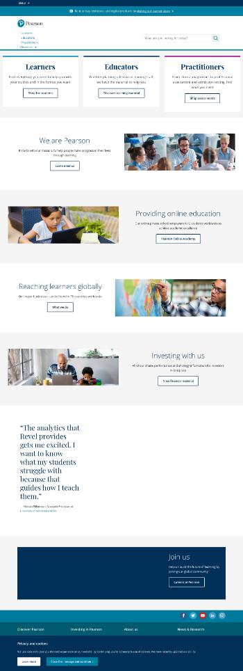 Pearson plc Website Screenshot