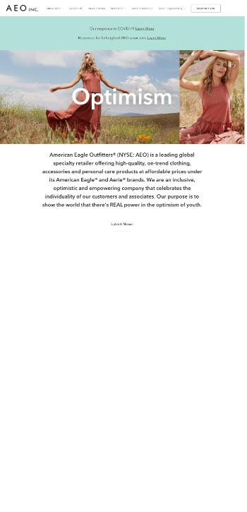 American Eagle Outfitters, Inc. Website Screenshot