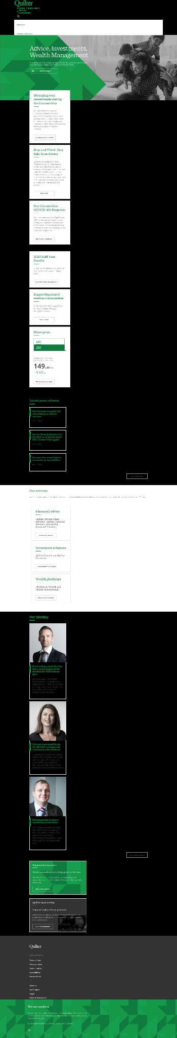 Quilter plc Website Screenshot