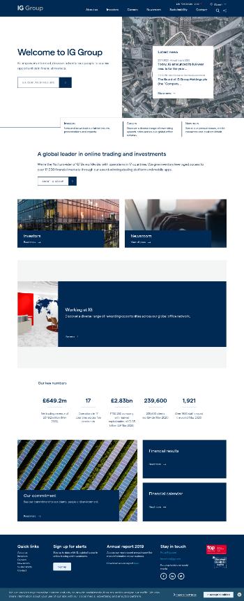 IG Group Holdings plc Website Screenshot