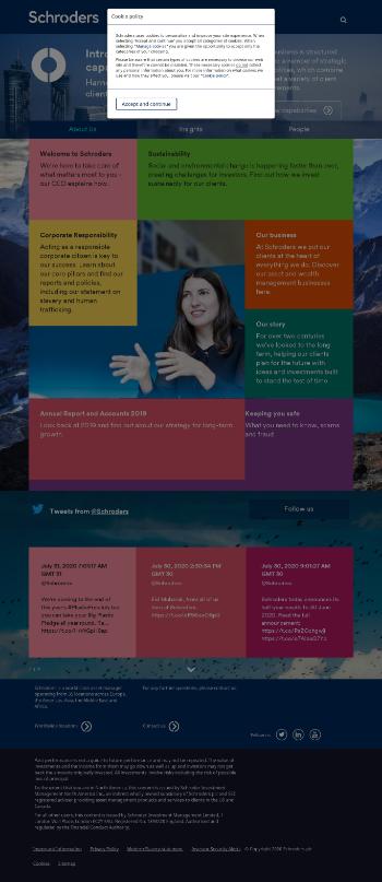 Schroders plc Website Screenshot