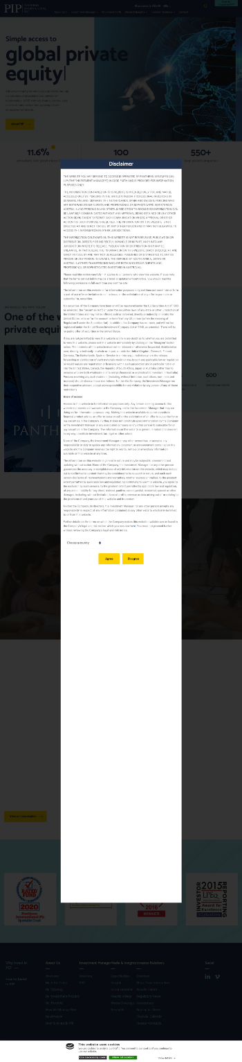 Pantheon International PLC Website Screenshot