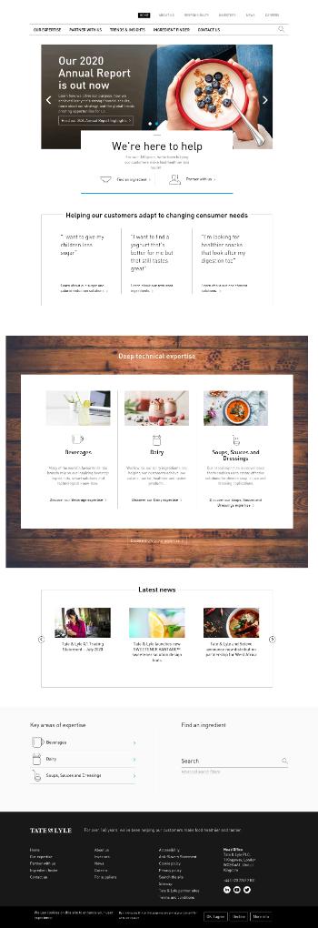 Tate & Lyle plc Website Screenshot