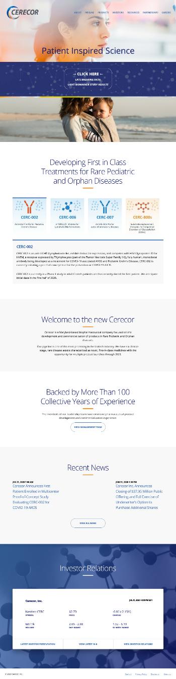 Cerecor Inc. Website Screenshot