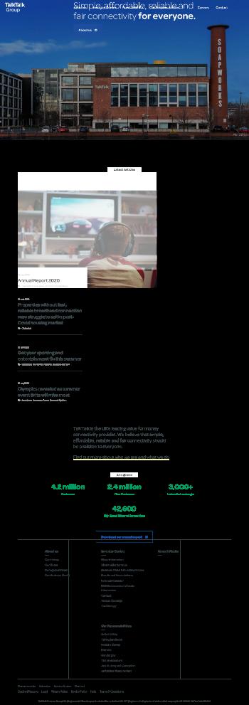 TalkTalk Telecom Group PLC Website Screenshot