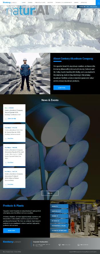 Century Aluminum Company Website Screenshot