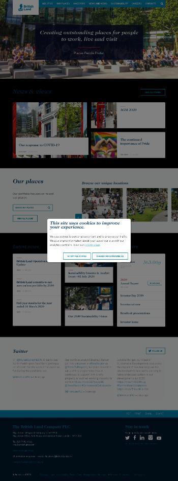 British Land Company Plc Website Screenshot