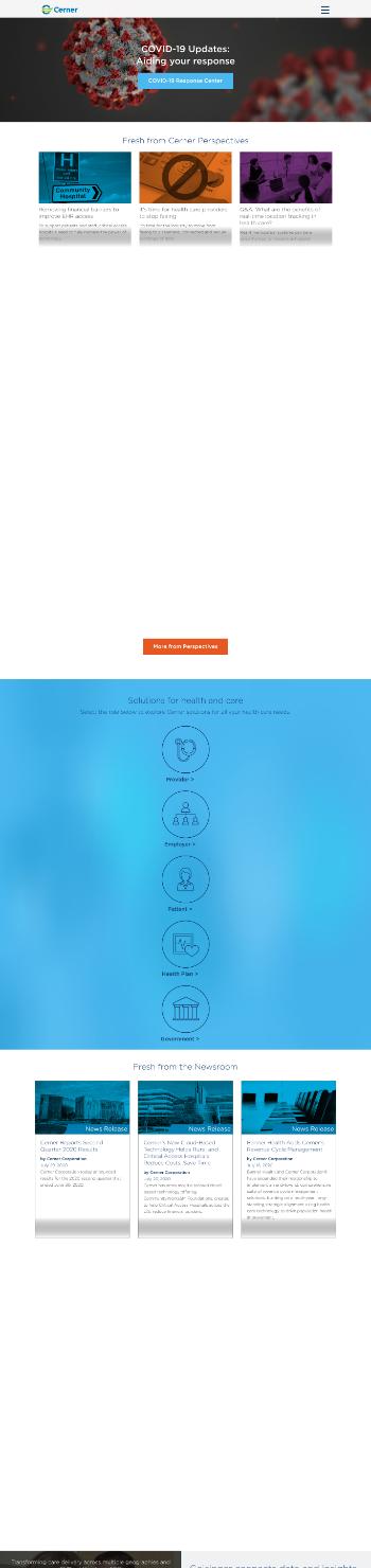 Cerner Corporation Website Screenshot