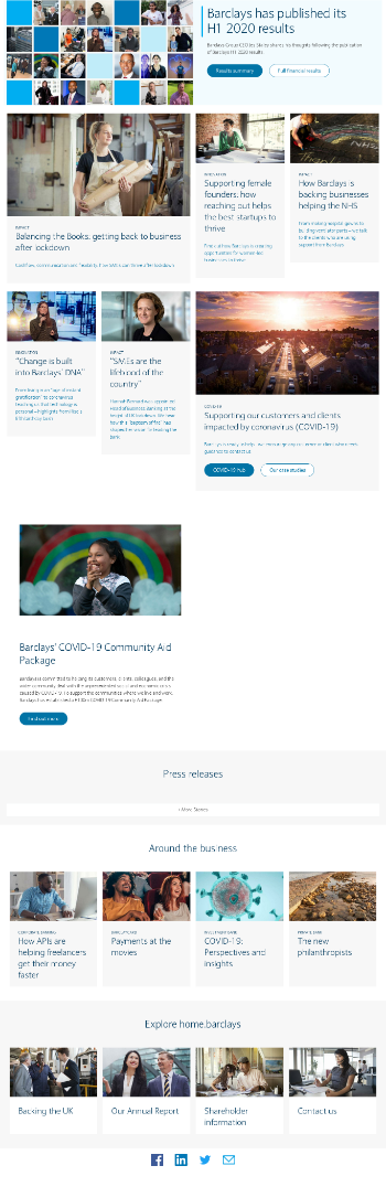 Barclays PLC Website Screenshot