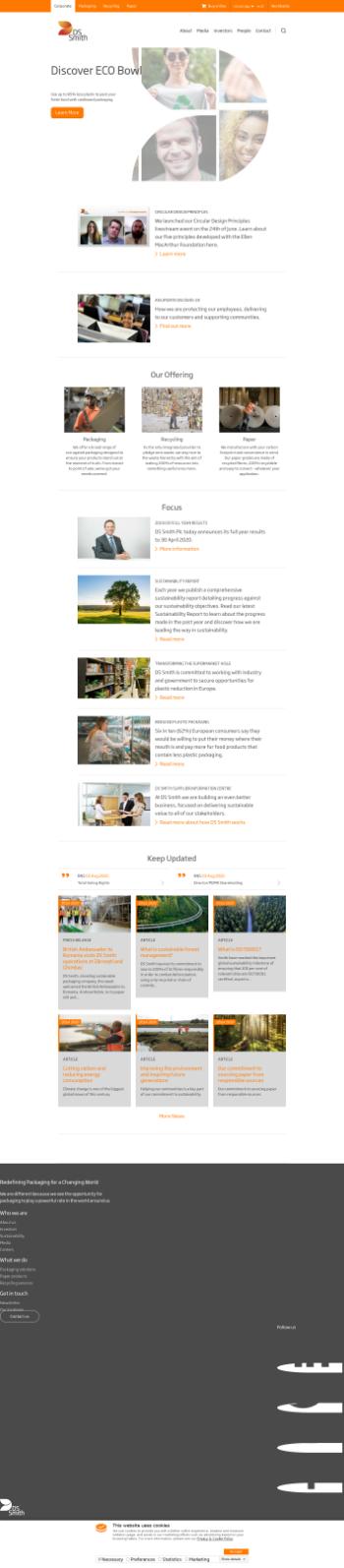 DS Smith Plc Website Screenshot