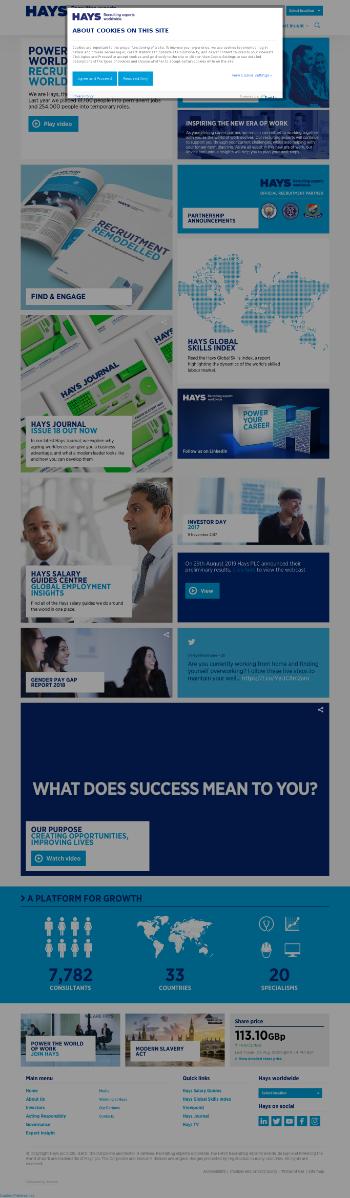 Hays plc Website Screenshot