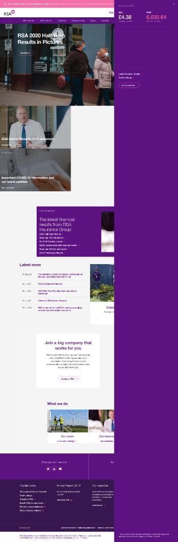 RSA Insurance Group plc Website Screenshot