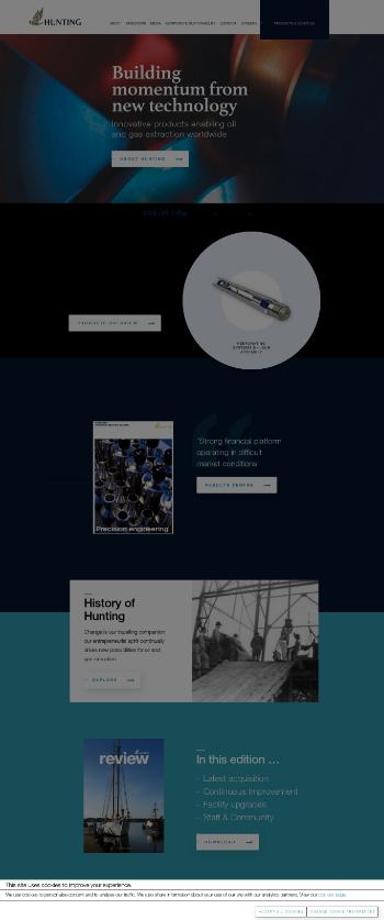 Hunting PLC Website Screenshot