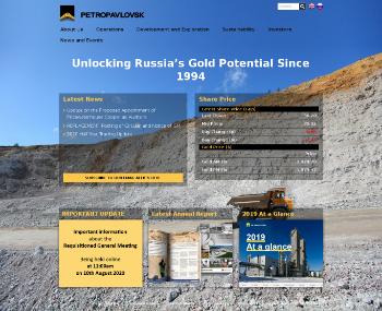 Petropavlovsk PLC Website Screenshot