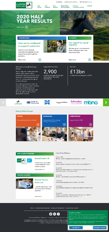 Lloyds Banking Group plc Website Screenshot