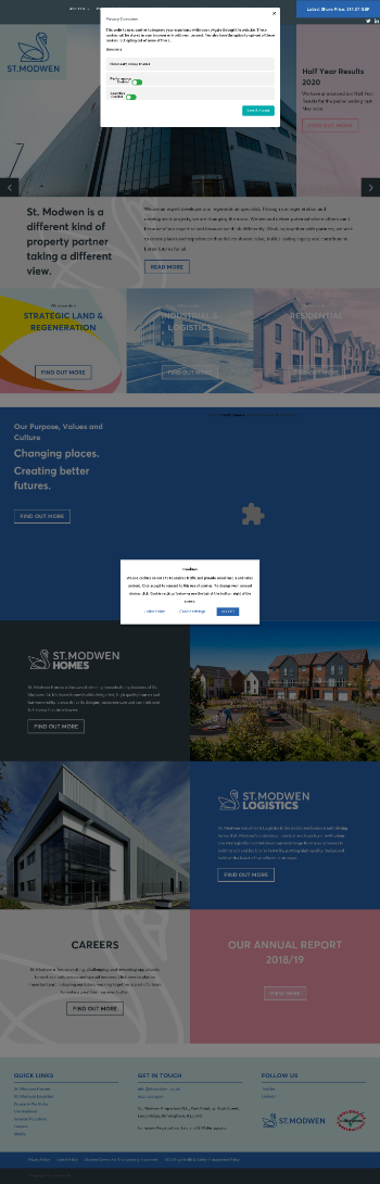 St. Modwen Properties PLC Website Screenshot