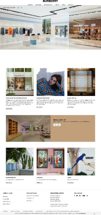 Burberry Group plc Website Screenshot