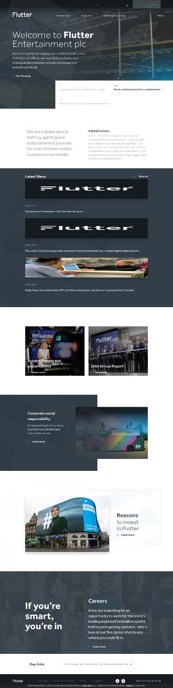 Flutter Entertainment plc Website Screenshot