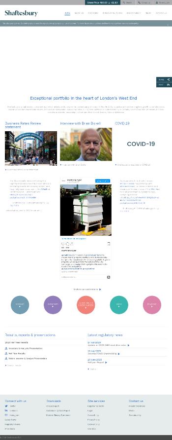 Shaftesbury PLC Website Screenshot