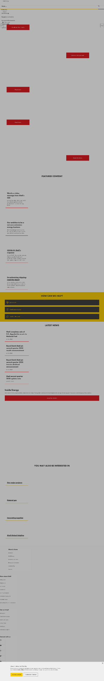 Royal Dutch Shell plc Website Screenshot